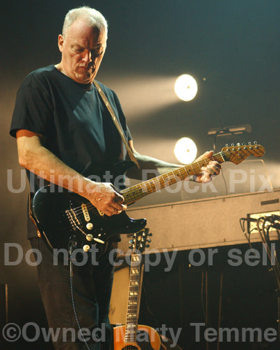 Photo of guitarist David Gilmour performing onstage by Marty Temme