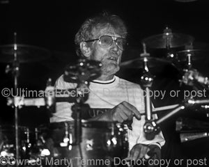Photo of drummer Ginger Baker of Cream and Blind Faith in 1993 by Marty Temme