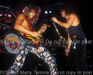 Photos of George Lynch and Oni Logan of Lynch Mob Onstage in 1991 by Marty Temme