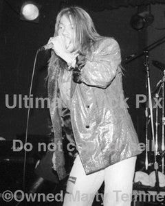 Black and white photo of Axl Rose of Guns N' Roses in concert in 1989 by Marty Temme
