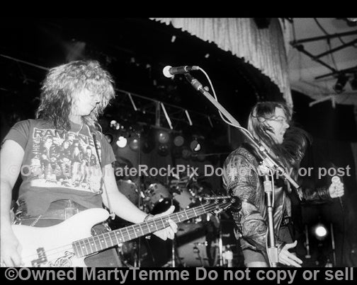Black and white photo of Axl Rose and Duff McKagan of Guns N' Roses in 1990 by Marty Temme