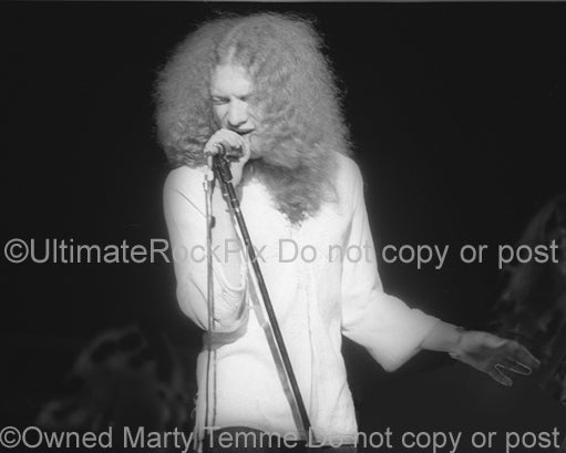 Photo of singer Lou Gramm of Foreigner in concert with Black Sheep in 1974 by Marty Temme