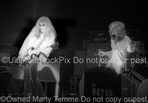 Photo of Don Mancuso and Lou Gramm in concert with Black Sheep in 1974 by Marty Temme