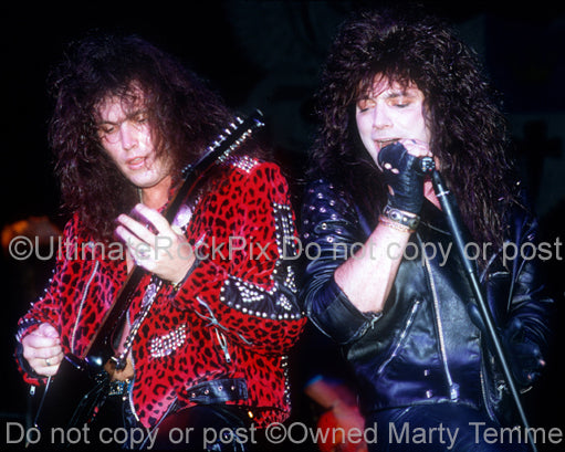 Photo of James Christian and Lanny Cordola of House of Lords in concert in 1989 by Marty Temme