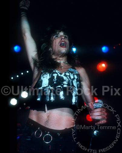 Photo of Kelly Hansen of Hurricane in concert in 1988 by Marty Temme