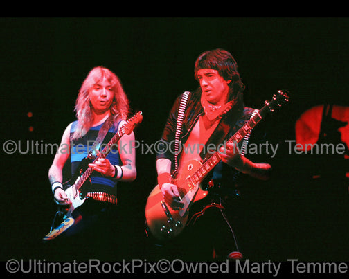 Photos of Dave Murray and Adrian Smith of Iron Maiden Onstage in 1985 by Marty Temme