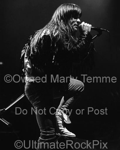 Black and white photo of Bruce Dickinson of Iron Maiden in concert in 1991 by Marty Temme
