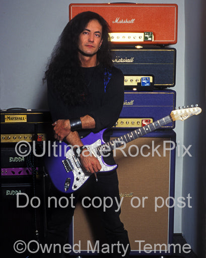 Photo of Jake E. Lee during a photo shoot with his amplifiers in 1995 by Marty Temme