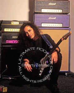 Photo of Jake E. Lee with his guitar and amps during a photo shoot in 1995 by Marty Temme