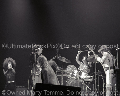 Black and white photo of The J. Geils Band in concert in 1972 by Marty Temme