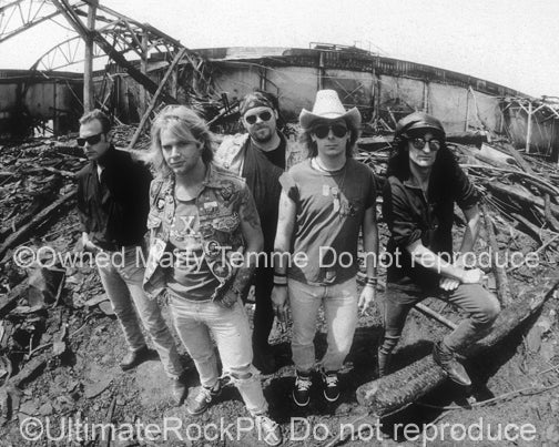 Photo of the band Junkyard during a photo shoot in 1989 by Marty Temme