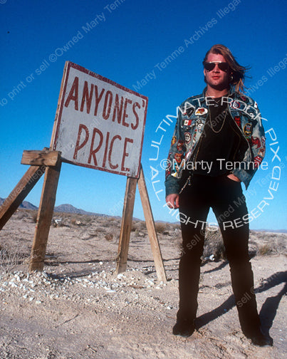 Photo of singer David Roach of Junkyard during a photo shoot in 1991 by Marty Temme