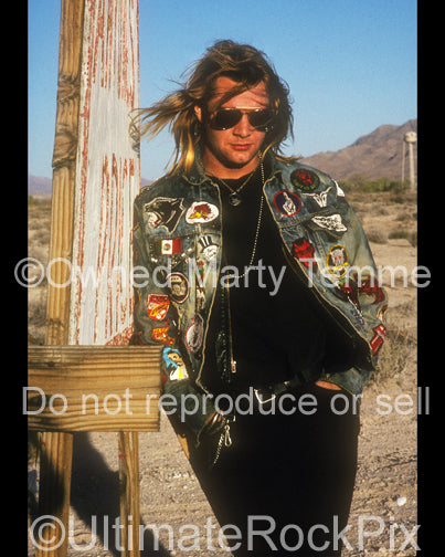 Photo of David Roach of Junkyard during a photo shoot in 1991 in Las Vegas, Nevada by Marty Temme