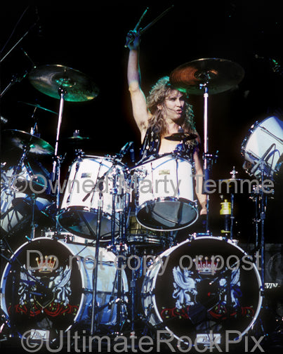 Photo of drummer Ken Mary of House of Lords in concert in 1989 by Marty Temme