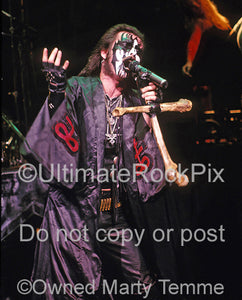 Photo of King Diamond performing in concert in 1988 by Marty Temme