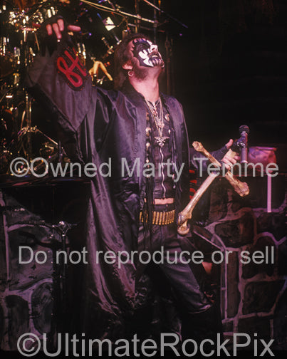 Photo of King Diamond in concert by Marty Temme