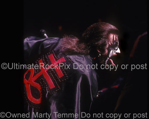 Photo of vocalist King Diamond performing in concert in 1988 by Marty Temme