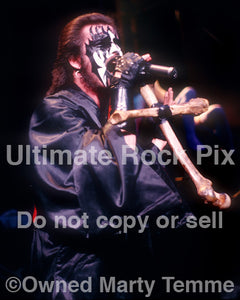 Photo of vocalist King Diamond in concert in 1988 by Marty Temme