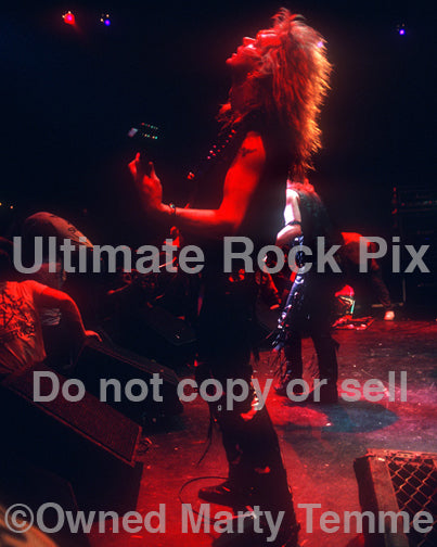 Photo of Andy LaRocque of King Diamond performing in concert in 1988 by Marty Temme