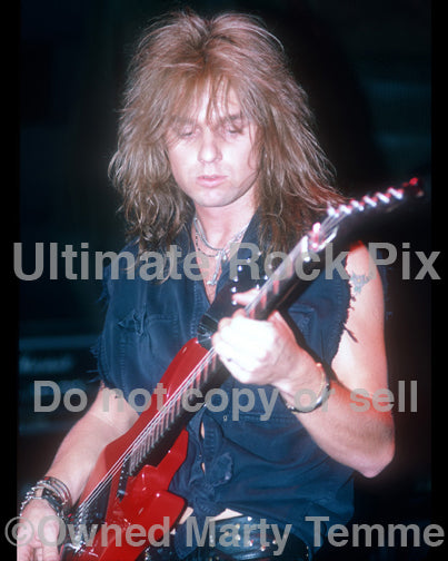 Photo of Andy LaRocque of King Diamond in concert in 1988 by Marty Temme