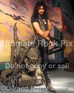 Photo of Gene Simmons of Kiss during a photo shoot in 1993 by Marty Temme