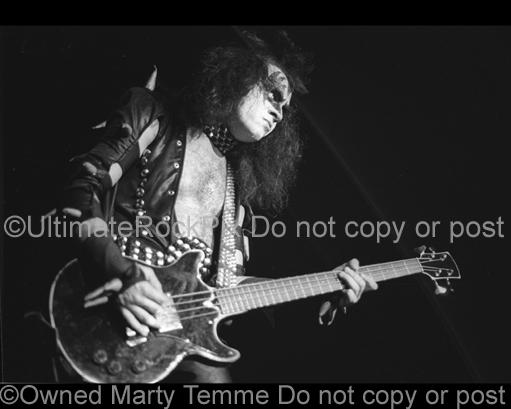 Photos of Gene Simmons of Kiss in Concert in the 1970's by Marty Temme