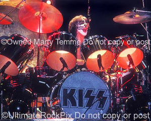 Photos of Drummer Peter Criss of Kiss in Concert in the 1970's by Marty Temme
