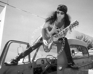 Black and white photo of Paul Stanley of Kiss during a photo shoot in 1993 by Marty Temme