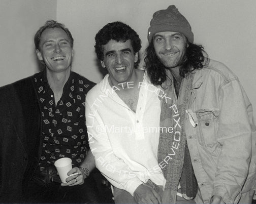 Photo of Geordie Walker, Jaz Coleman and Youth of Killing Joke backstage in 1994 by Marty Temme