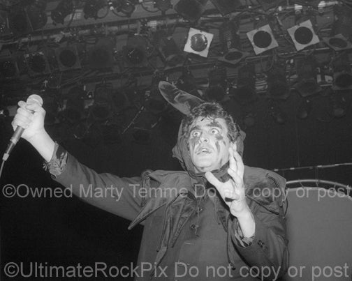 Photo of Jaz Coleman of Killing Joke performing in concert in 1994 by Marty Temme