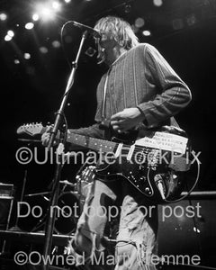 Black and white photo of Kurt Cobain of Nirvana onstage in 1991 by Marty Temme