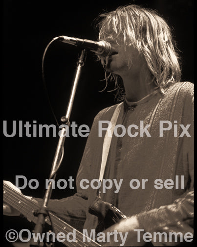 Art Print of Kurt Cobain of Nirvana in concert in 1991 by Marty Temme
