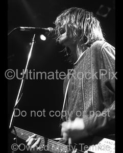 Black and white photo of Kurt Cobain of Nirvana singing in concert in 1991 by Marty Temme