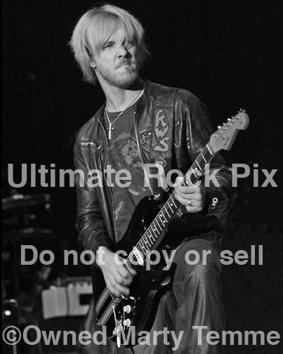 Black and white photo of Kenny Wayne Shepherd onstage by Marty Temme