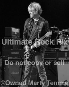 Black and white photo of Kenny Wayne Shepherd playing a Stratocaster in 2010 by Marty Temme