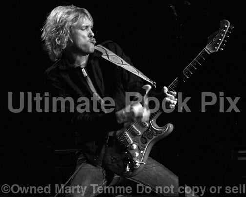 Black and white photo of Kenny Wayne Shepherd performing in concert in 2010 by Marty Temme