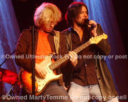 Photo of Kenny Wayne Shepherd and vocalist Noah Hunt in concert by Marty Temme