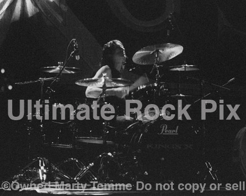 Photo of drummer Jerry Gaskill of King's X in concert in 2003 by Marty Temme