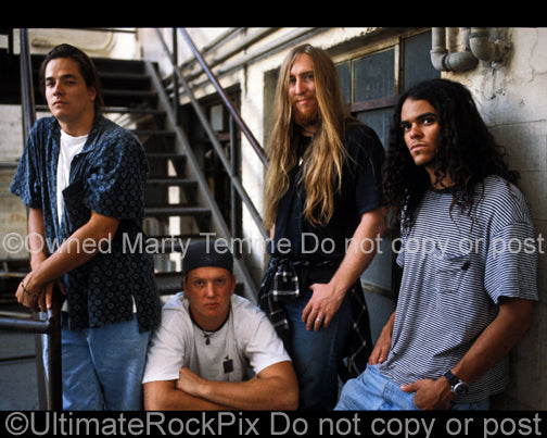 Photo of Josh Homme and Kyuss during a photo shoot in 1994 by Marty Temme