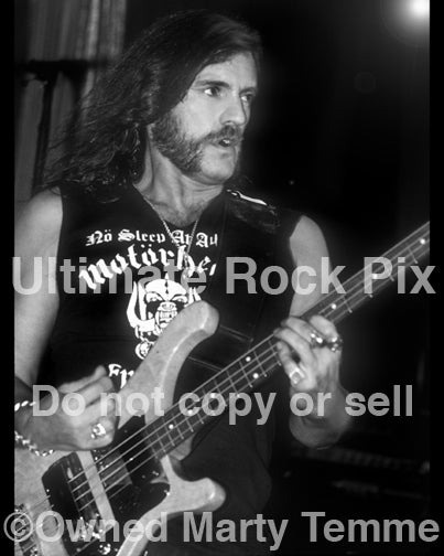 Black and white photo of Lemmy Kilmister of Motorhead in concert in 1990 by Marty Temme
