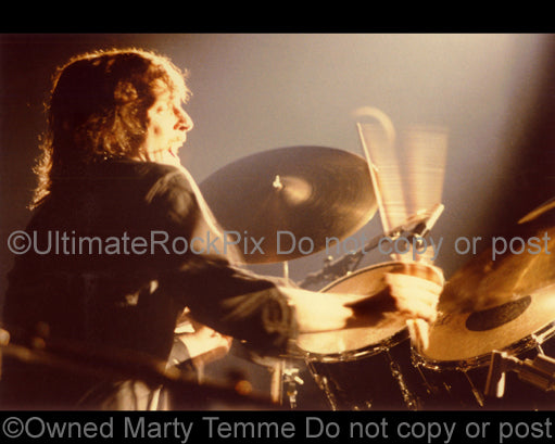 Photo of Richie Hayward of Little Feat in concert in 1977 by Marty Temme