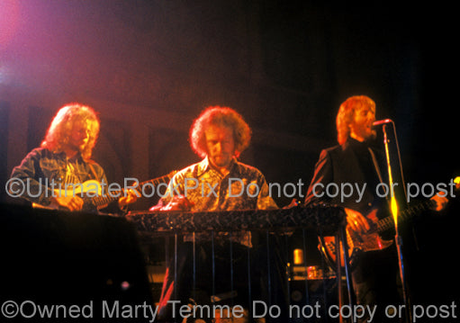 Photo of Bob Warford, Sneaky Pete Kleinow, and Andrew Gold of Linda Ronstadt in concert in 1973 by Marty Temme