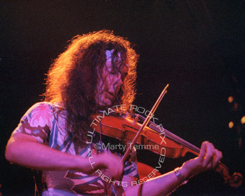 Photo of musician David Lindley playing a violin in concert in 1981 by Marty Temme