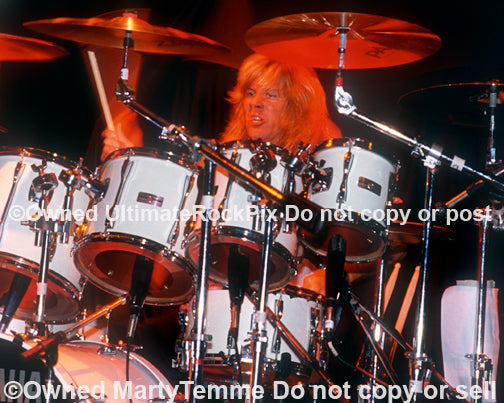 Photo of drummer Dean Roberts of Leatherwolf in concert by Marty Temme