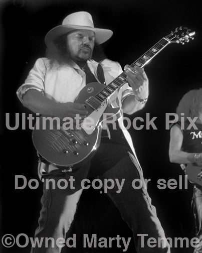 Black and white photo of Gary Rossington of Lynyrd Skynyrd in 2002 by Marty Temme