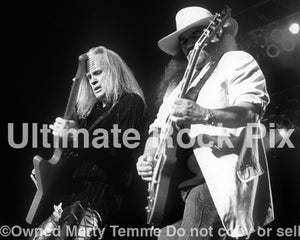 Black and white photo of Rickey Medlocke and Gary Rossington of Lynyrd Skynyrd in 2004 by Marty Temme