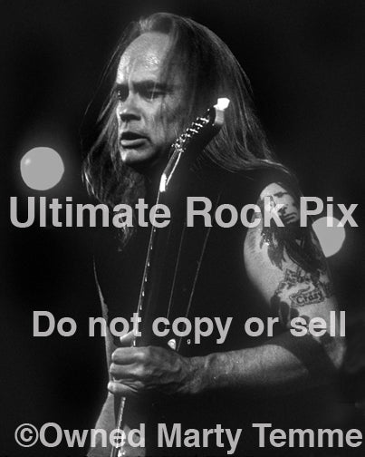 Black and white photo of Rickey Medlocke of Lynyrd Skynyrd in 2002 by Marty Temme