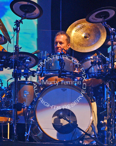 Photo of drummer Gordon Marshall of The Moody Blues in concert by Marty Temme