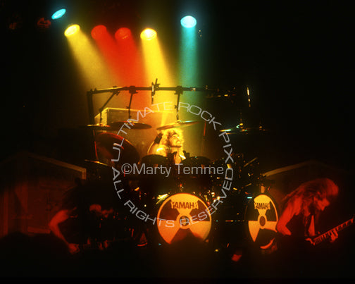 Photo of drummer Nick Menza of Megadeth in concert by Marty Temme