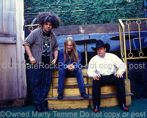 Photo of Buzz Osborne, Dale Crover and Mark Deutrom of Melvins in 1995 by Marty Temme
